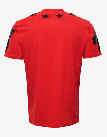 Givenchy Red '74' Cuban T-Shirt with Stars
