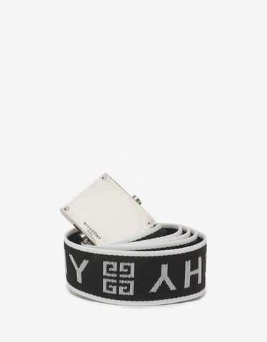 Givenchy Black 4G Logo Canvas Belt
