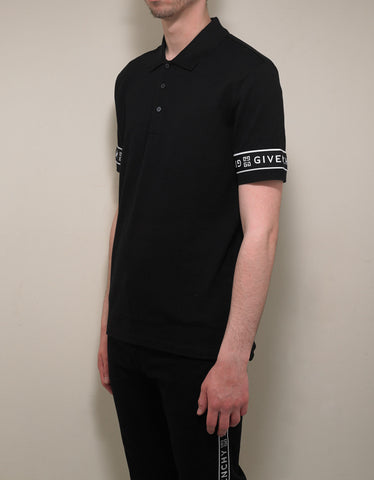 Givenchy Black 4G Logo Trim Slim Fit Polo T-Shirt