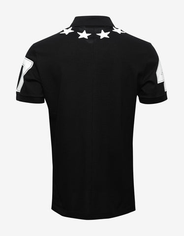 Givenchy Black '74' Cuban Polo T-Shirt with Stars