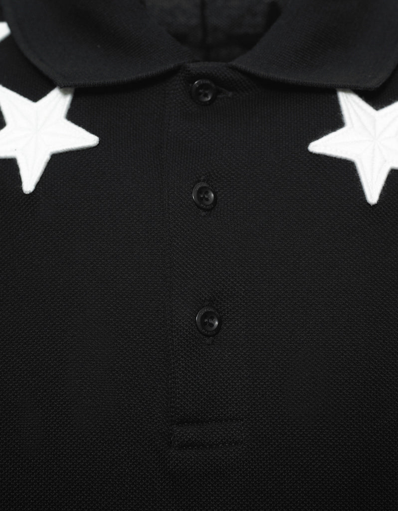 Black '74' Cuban Polo T-Shirt with Stars