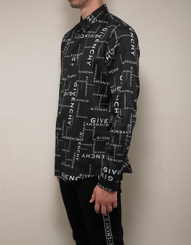 Givenchy Black All-Over Logo Shirt
