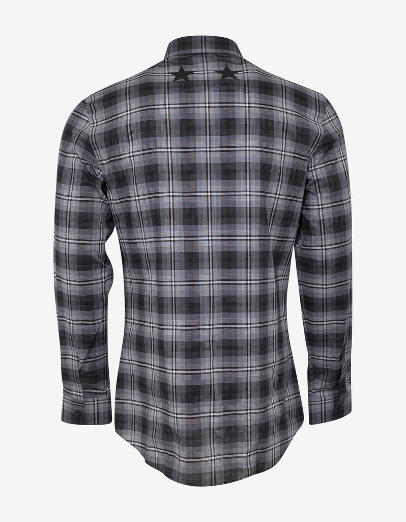 Black Check Slim Fit Shirt with Stars