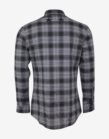 Givenchy Black Check Slim Fit Shirt with Stars