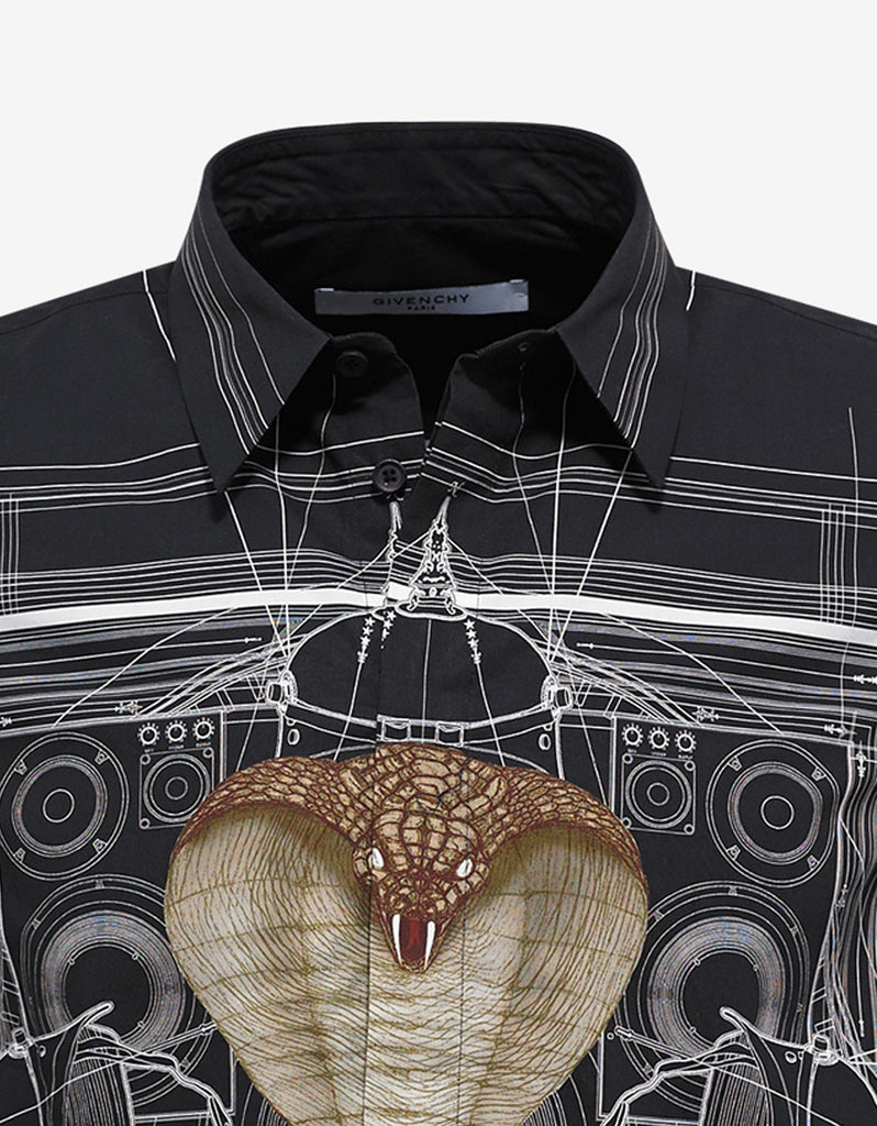 Black Cobra Print Cuban Fit Shirt