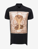 Black Columbian Fit Cobra Panel Polo T-Shirt