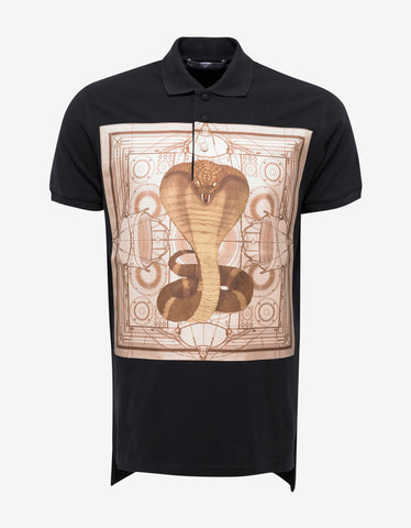 Givenchy Black Columbian Fit Cobra Panel Polo T-Shirt