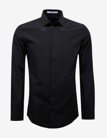 Givenchy Black Contemporary Fit Shirt with Stars