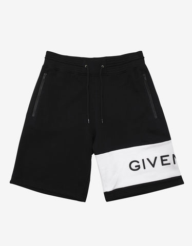 Givenchy Black Contrast Logo Panel Sweat Shorts