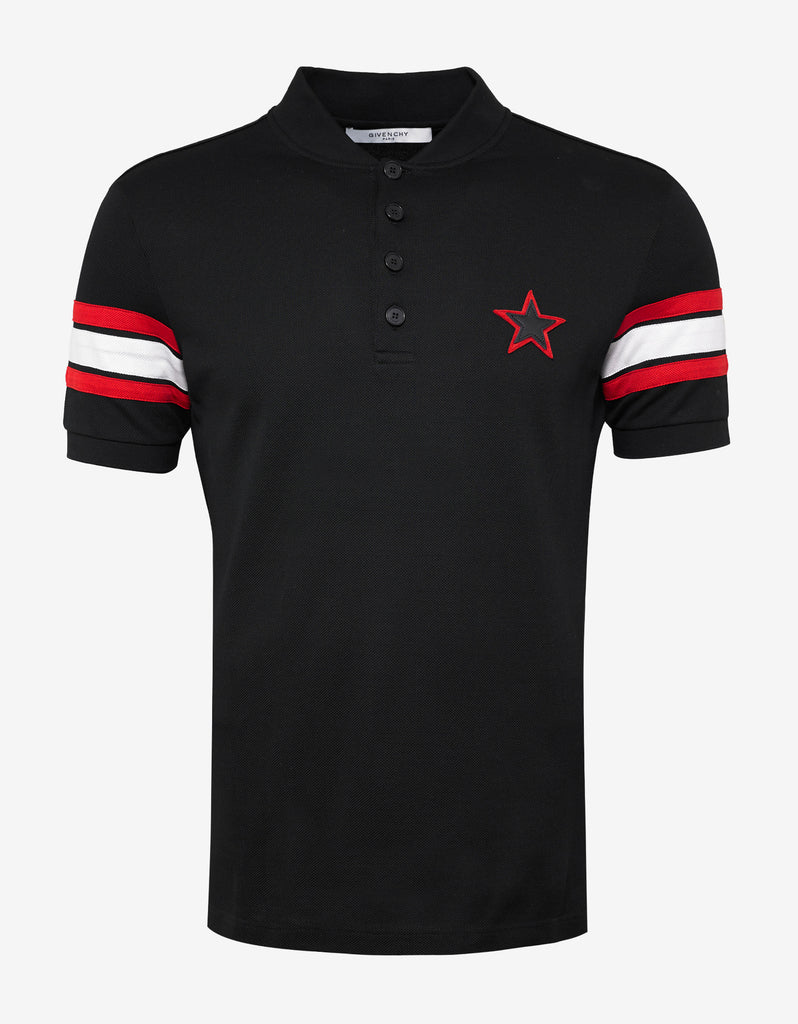 Black Cuban Fit Polo T-Shirt with Stats & Bands