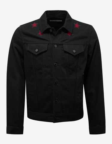 Givenchy Black Denim Jacket with Stars