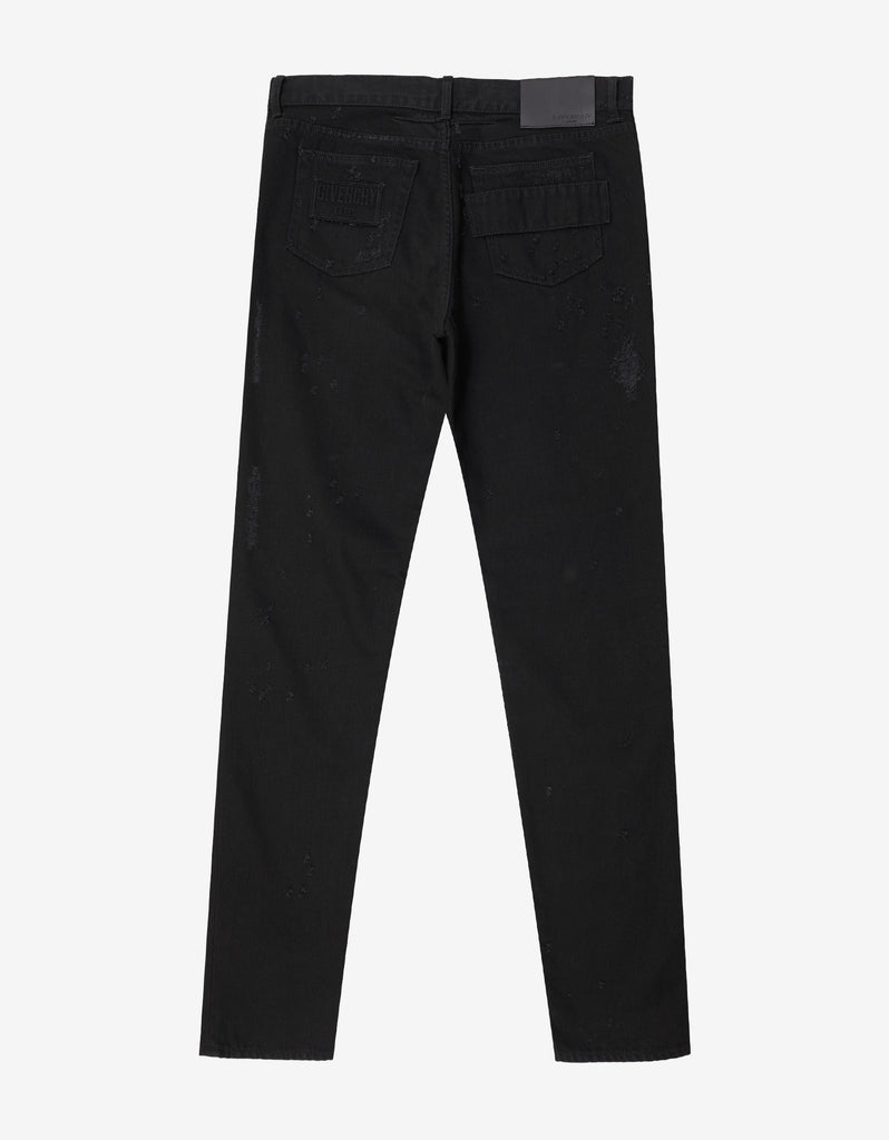 Black Destroyed Cuban Fit Jeans