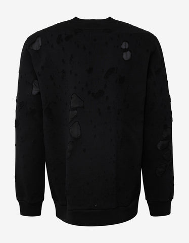Givenchy Black Destroyed Logo Sweatshirt