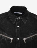 Black Distressed Denim Shirt