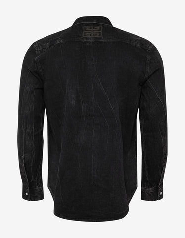 Givenchy Black Distressed Denim Shirt