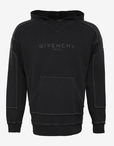 Givenchy Black Distressed Seam Logo Hoodie