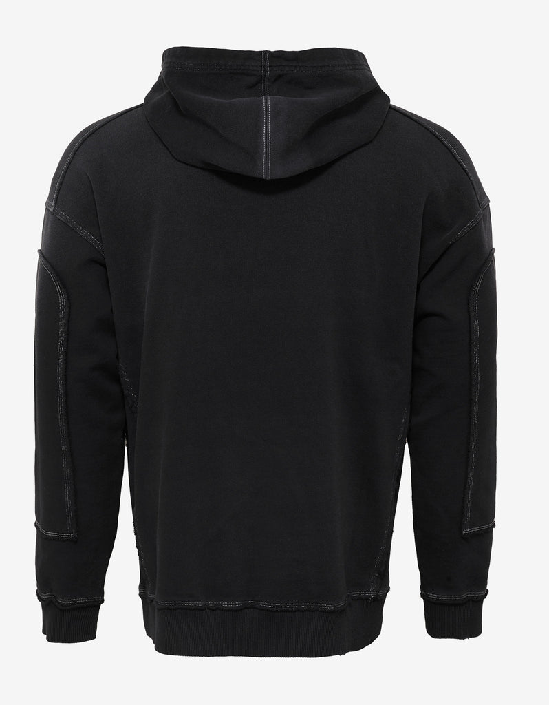 Black Distressed Seam Logo Hoodie