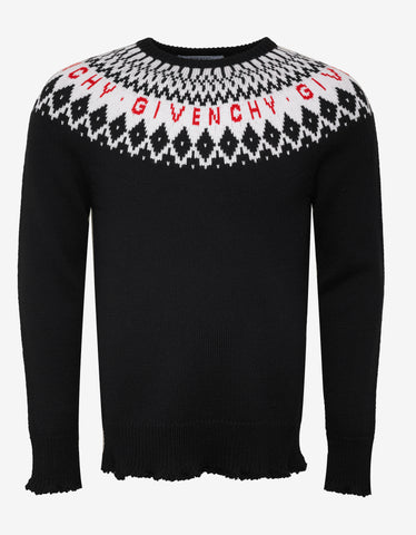 Givenchy Black Fair Isle Logo Wool Sweater