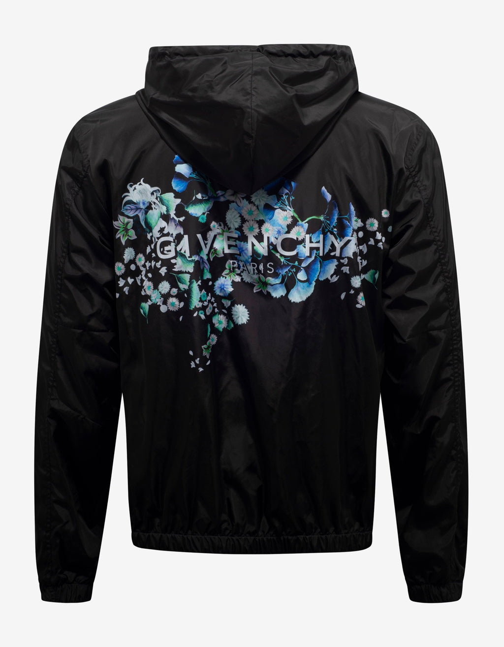 Black Floral Back Print Windbreaker -