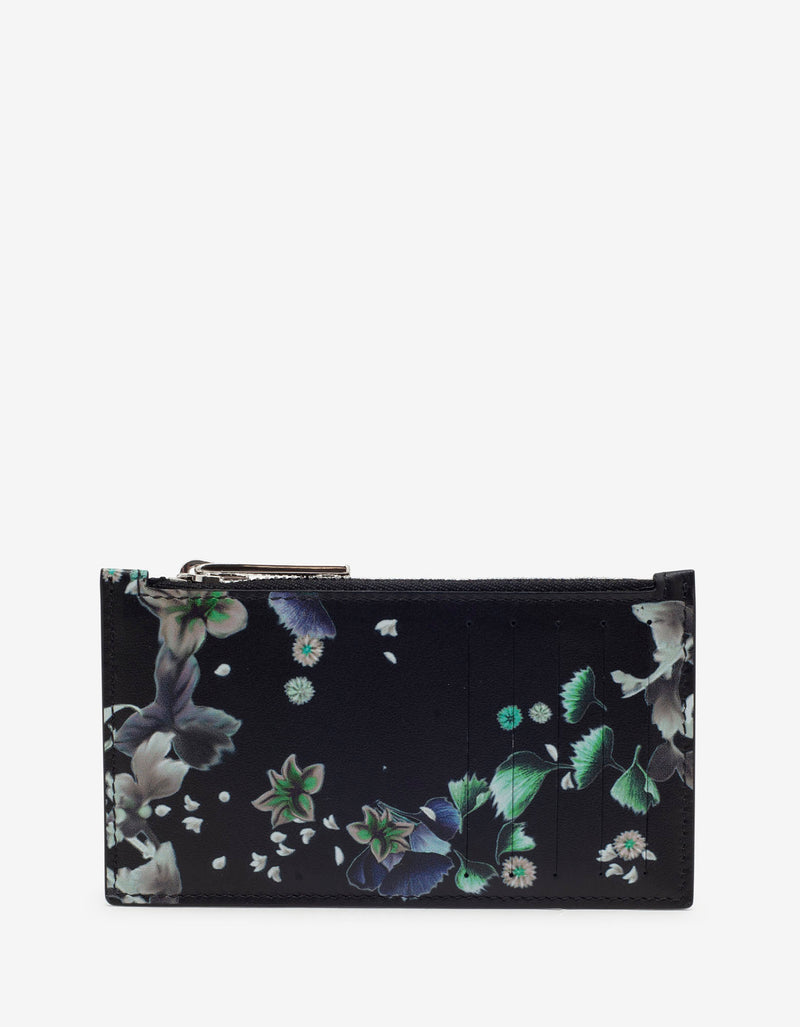Black Floral Print Long Card Holder