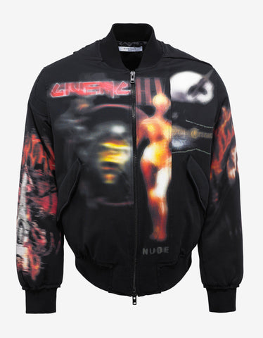 Givenchy Black Heavy Metal Bomber Jacket