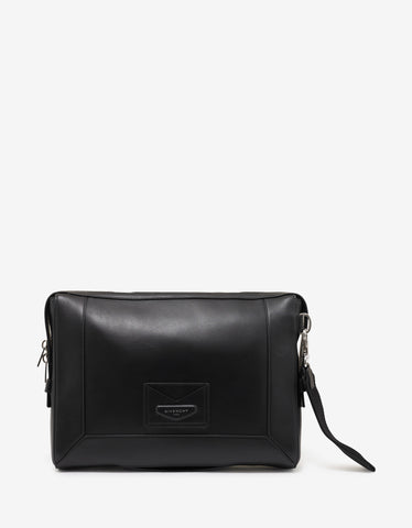 Givenchy Black Leather Enveloppe Messenger Bag