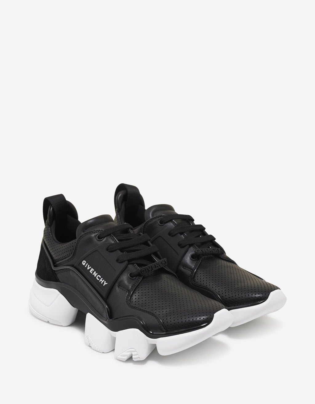 Black Leather Jaw Trainers