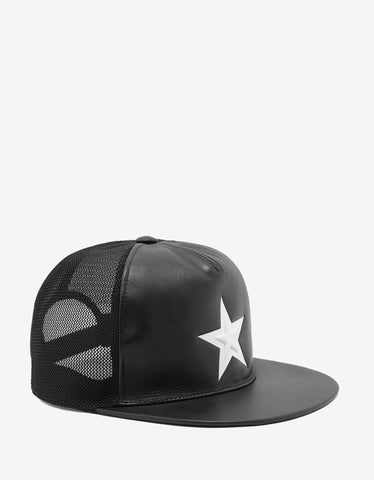 Givenchy Black Leather & Mesh Trucker Cap with White Star