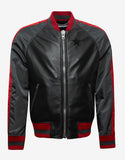 Black Leather & Nylon Varsity Jacket