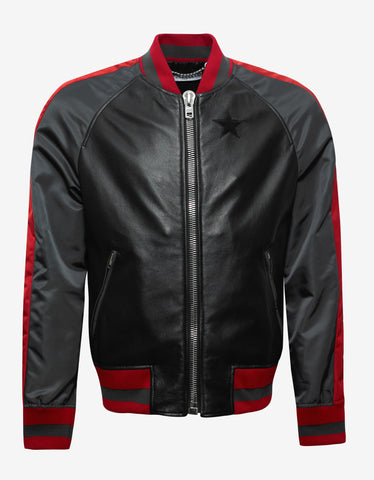 Givenchy Black Leather & Nylon Varsity Jacket