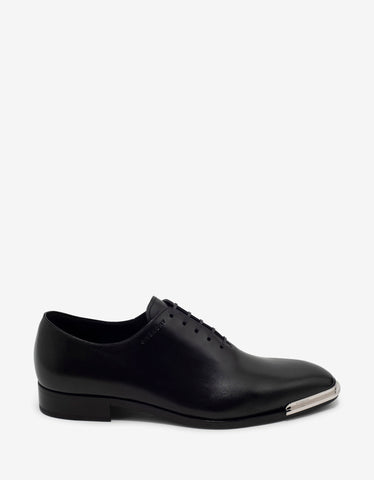 Givenchy Black Leather Oxford Shoes with Metal Tips