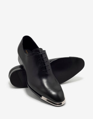 Black Leather Oxford Shoes with Metal Tips