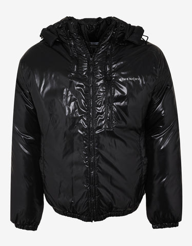 Givenchy Black Light Nylon Logo Puffer Jacket