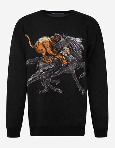 Givenchy Black Lion & Pegasus Wool Sweater