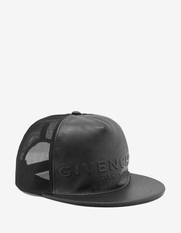 Givenchy Black Logo Embossed Leather & Mesh Trucker Cap
