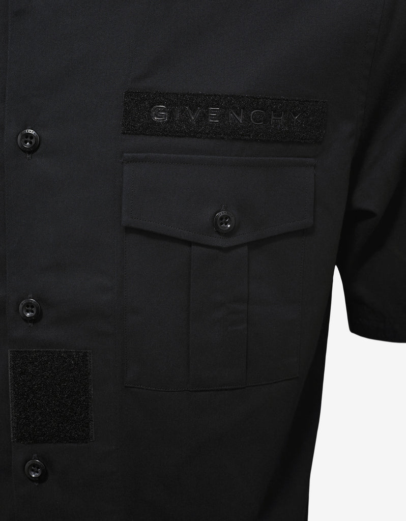 Black Military Shirt with Velcro Patches