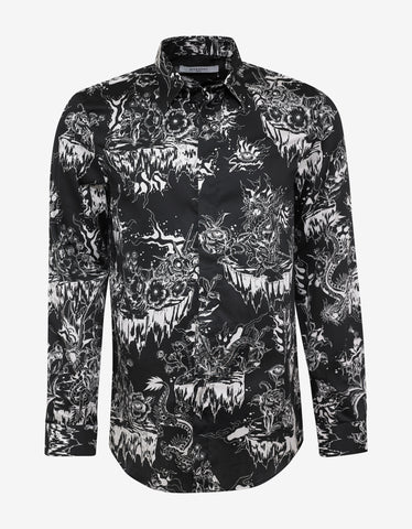 Givenchy Black Monster Print Satin Shirt