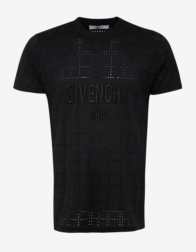givenchy black perforated modern fit t shirt zoofashions com. Black Bedroom Furniture Sets. Home Design Ideas