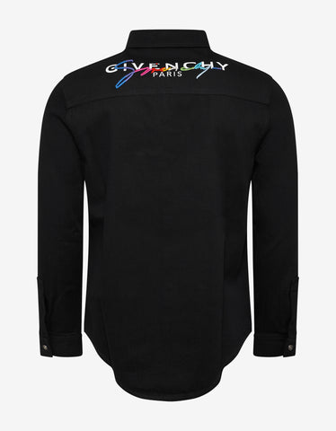 Givenchy Black Rainbow Logo Denim Shirt