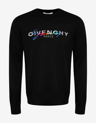 Givenchy Black Rainbow Logo Sweater