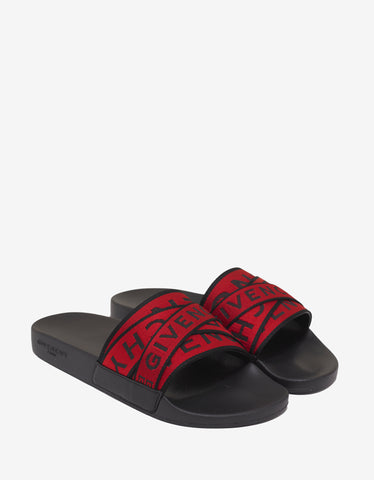 Givenchy Black & Red 4G Logo Slide Sandals