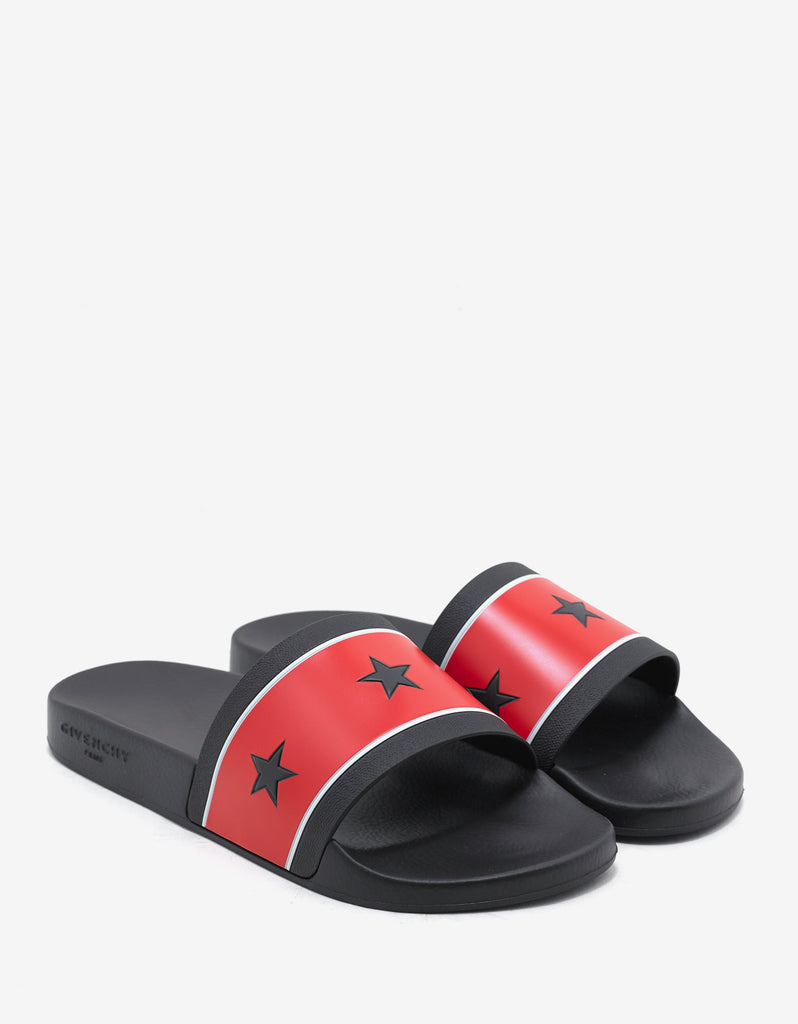 Black & Red Slide Sandals with Stars