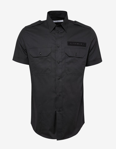 Givenchy Black Short Sleeve Military Shirt