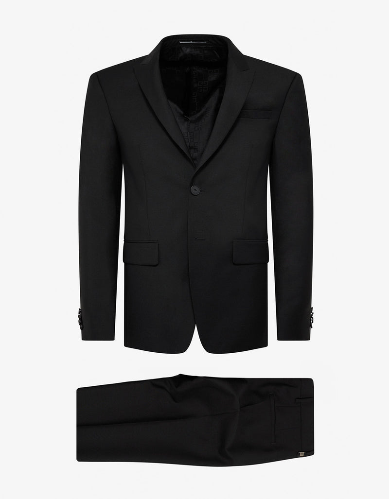 Black Single-Breasted Wool-Blend Suit