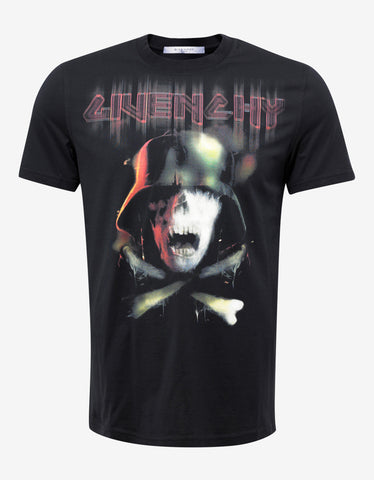 Givenchy Black Skull Graphic Cuban Fit T-Shirt