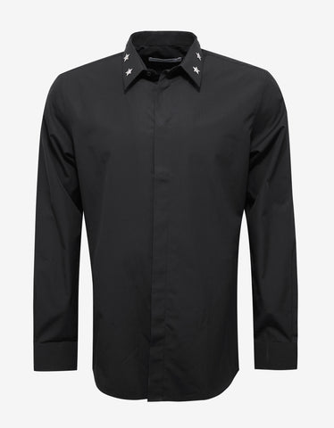 Givenchy Black Shirt with Star Stud Collar