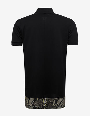 Givenchy Black Polo T-Shirt with Snake Print Panel