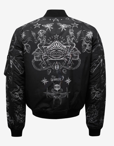 Givenchy Black Tattoo Print Reversible Bomber Jacket