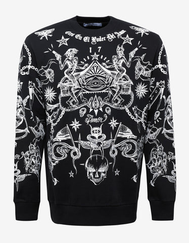 Givenchy Black Tattoo Print Columbian Fit Sweatshirt