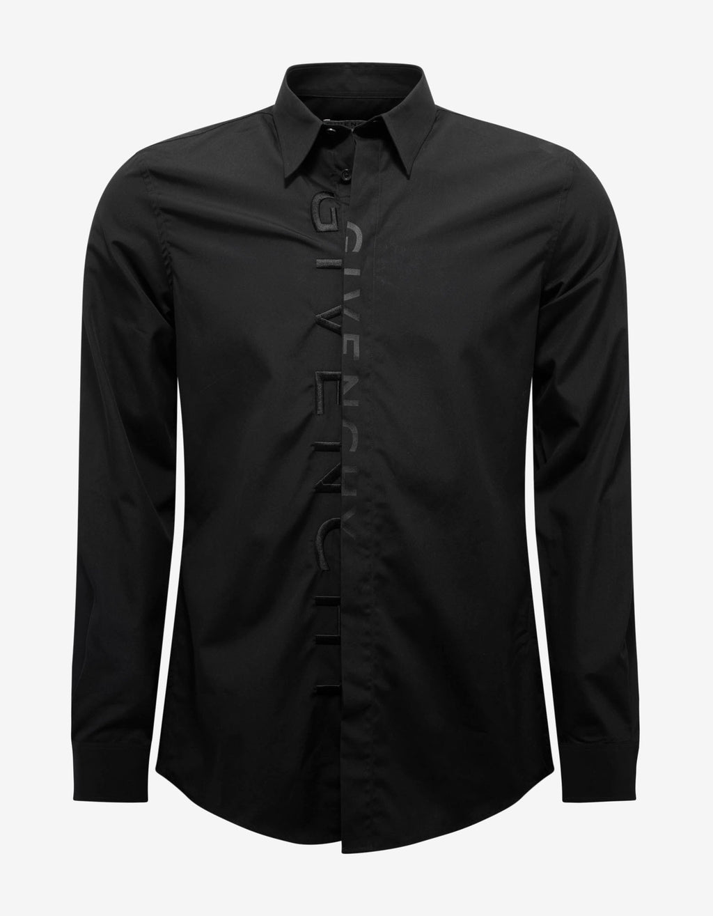 Black Tonal Logo Embroidery Shirt -
